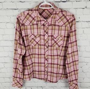 ESPRIT | plaid pearl button down long sleeve shirt
